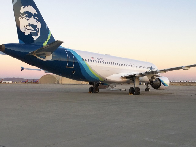 Airbus A320-family aircraft painted in the colour scheme of Alaska Airlines
