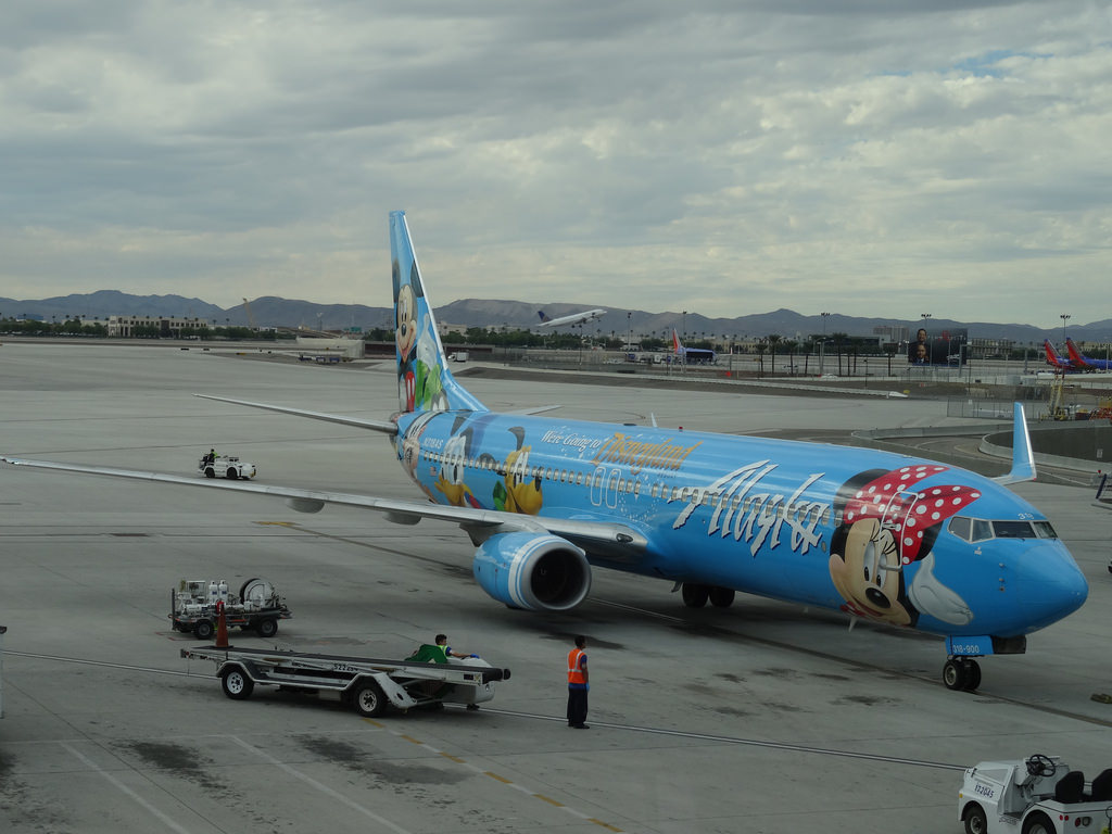 Alaska Airline Aircraft Boeing 737-900 Spirit of Disneyland Livery N318AS at McCarran Airport