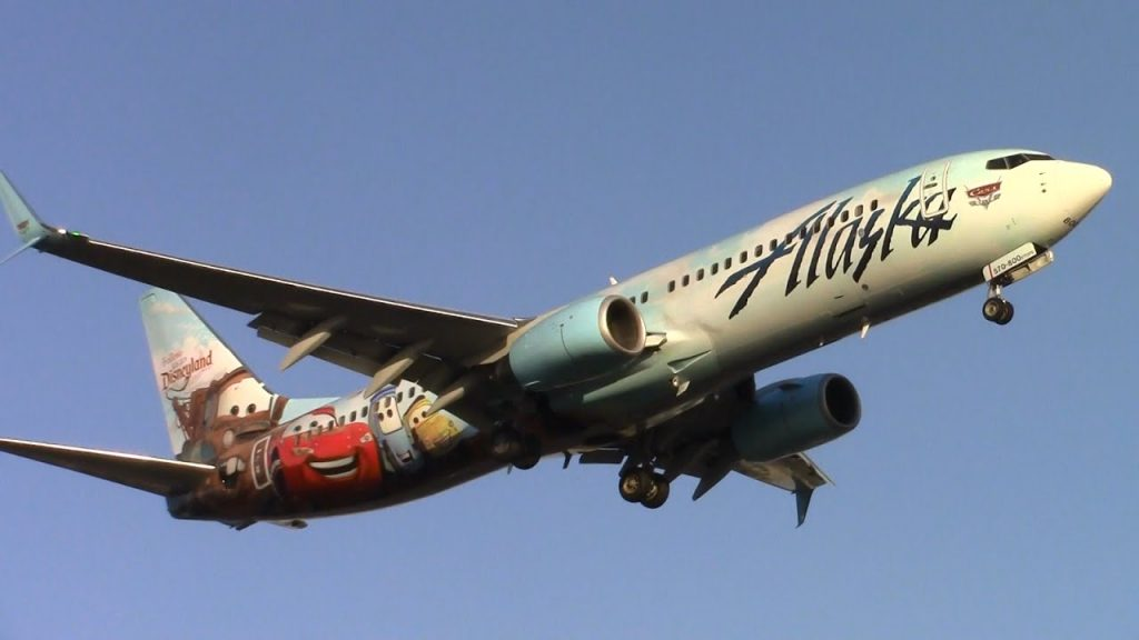 Alaska Airlines Disney Cars Livery Boeing 737-800 [N570AS] landing at LAX