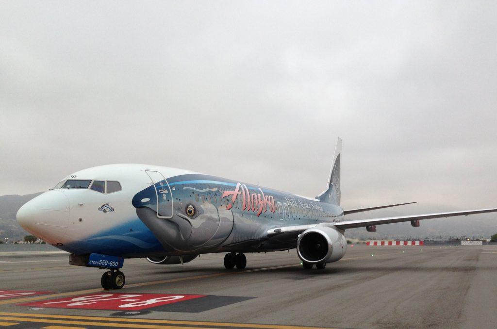 Alaska Airlines Salmon-Thirty-Salmon II Close Up Taxi & Takeoff