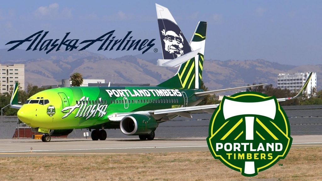 Alaska Airlines 737-790 N607AS Portland Timbers Takeoff from San Jose International Airport