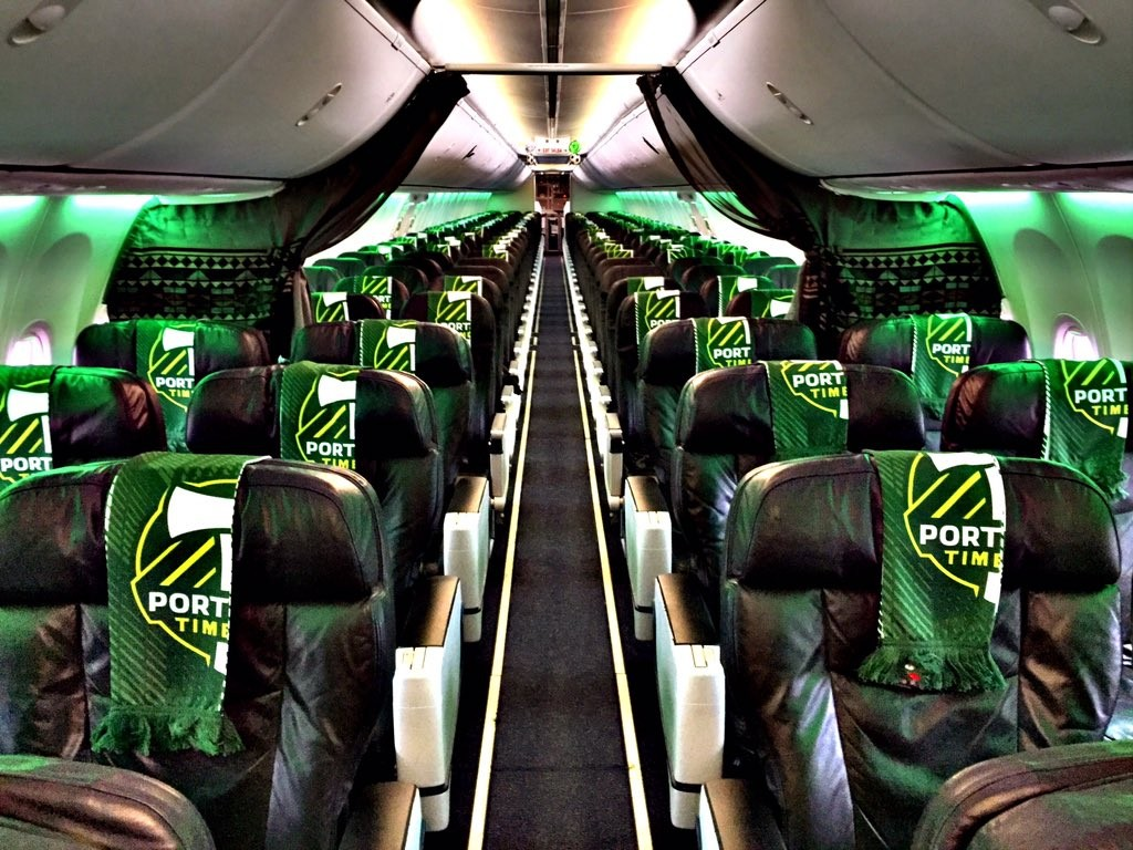 Alaska Airlines Boeing 737-700 Portland Timbers Interior Cabin Design and Seating
