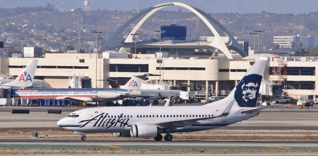 Alaska Airlines Boeing 737-700 taxis at Los Angeles International Airport