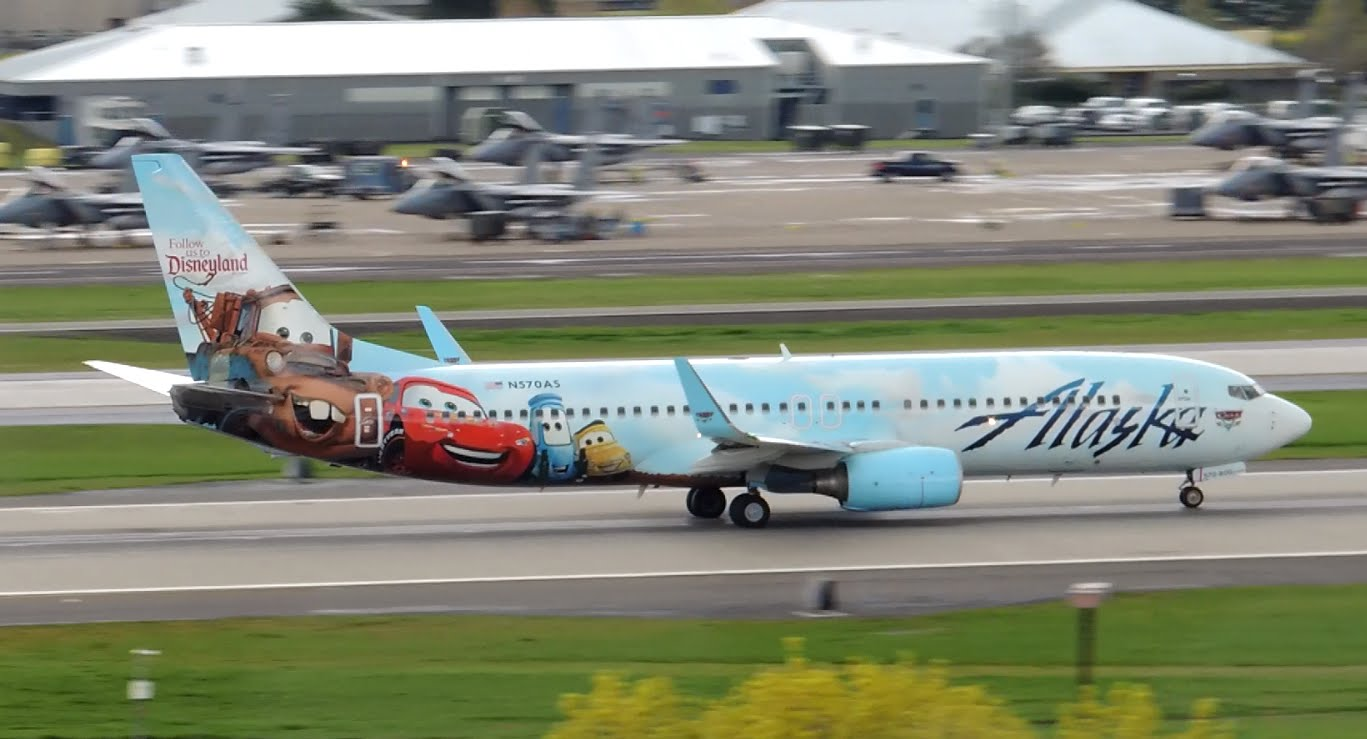 Alaska Airlines Boeing 737-800 Adventures of Disneyland Cars Livery [N570AS] takeoff from PDX