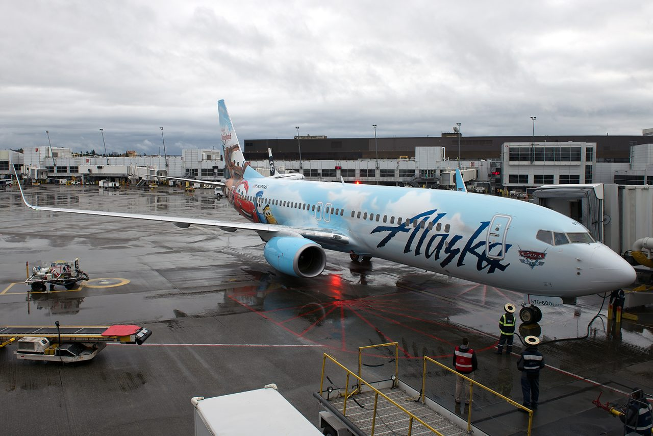 Alaska Airlines Boeing 737-800 Cars Livery on Adventures of Disneyland Resort Painting