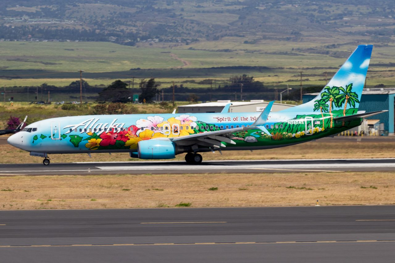 Alaska Airlines Boeing 737-800 Special Livery Spirit of The Islands at Kahului Airport