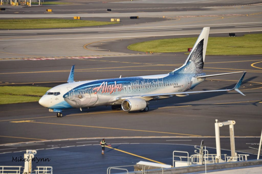 Alaska Airlines Boeing 737-890 (N559AS) in special Salmon Thirty Salmon II livery in partnership with Wild Alaska Seafood pulling up to the gate @Mikel Wynn
