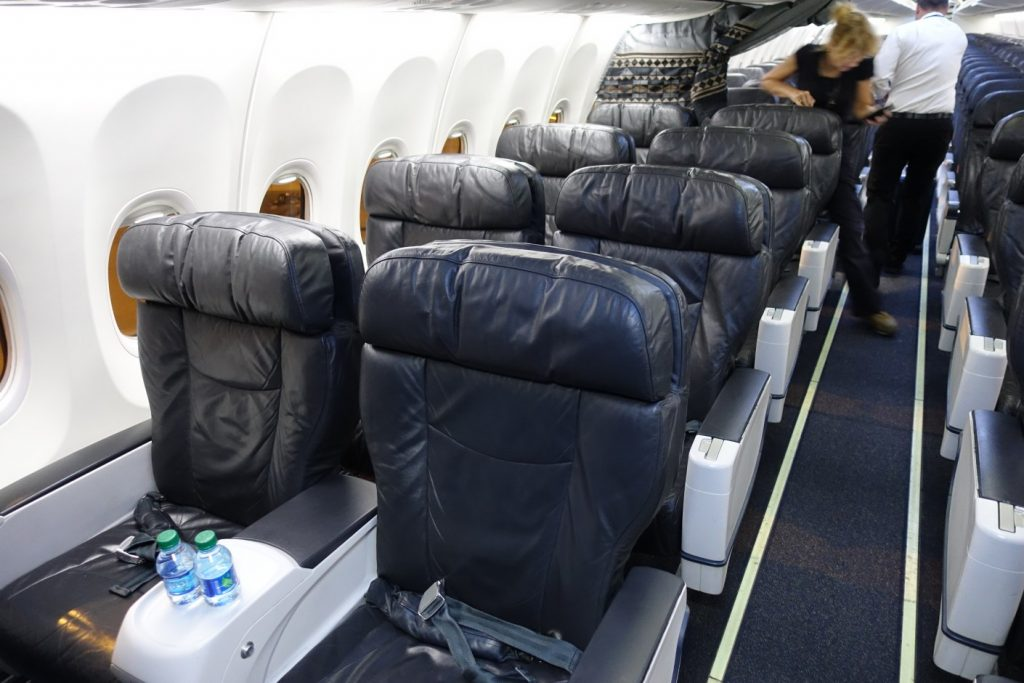 Alaska Airlines Boeing 737-900 features a two-cabin arrangement, with 16 recliner seats in a 2-2 configuration in first class