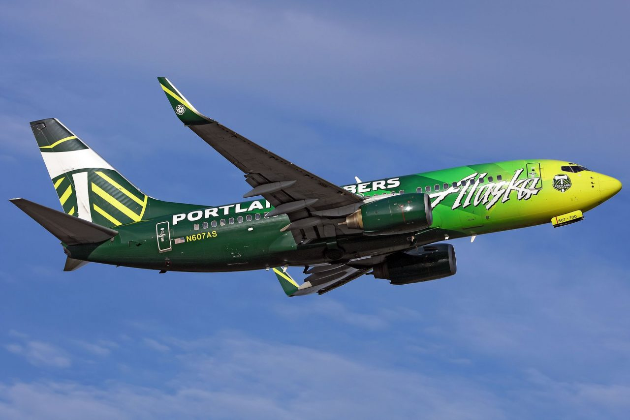 Alaska Airlines Boeing c:n 29751 Ted Stevens Anchorage Int'l July 2016 Porrtland Timbers Livery Colors