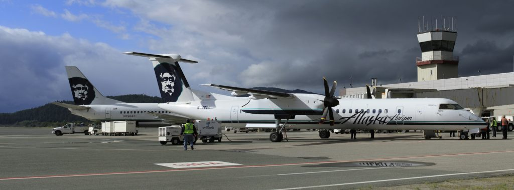 Alaska Airlines Bombardier Dash 8-Q400 on proving flight in Juneau, Alaska - Photo- AirlineReporter