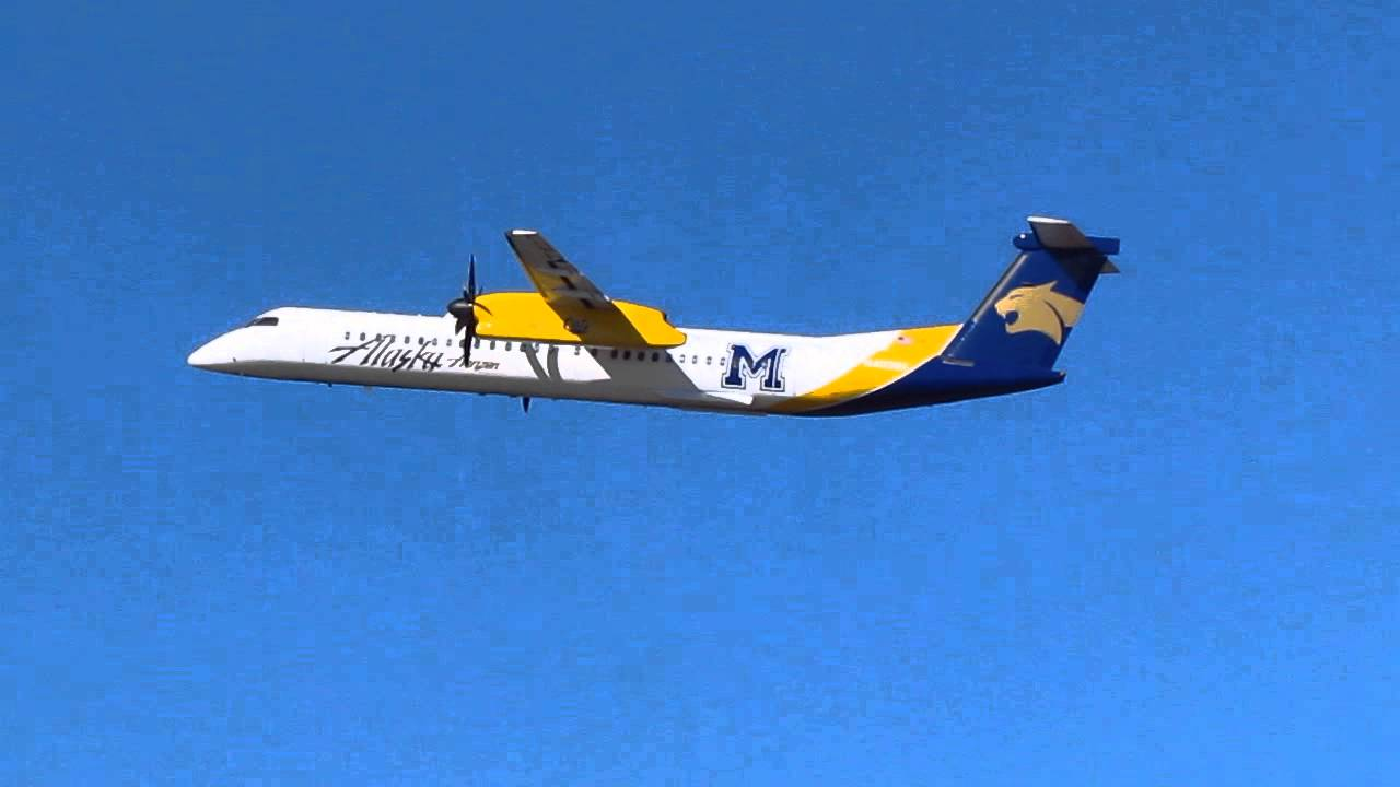 Alaska Airlines Bombardier Q400 With The MSU Bobcats Paint Job Takes Off From KPDX On Runway 28R