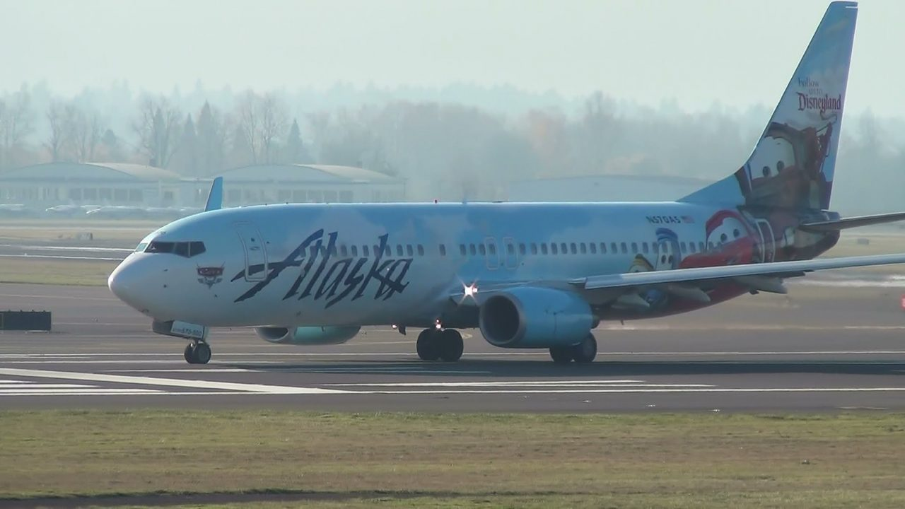 Alaska Airlines (Disneyland Cars Livery) N570AS 737-800 Takeoff Portland Airport (PDX)