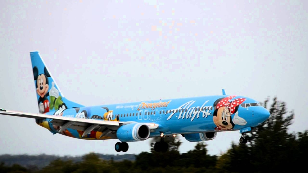 Alaska Airlines Fleet Boeing 737-900 Spirit of Disneyland II [N318AS] lands in Anchorage
