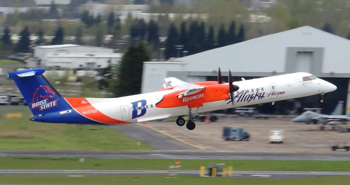 Alaska Airlines (Horizon Air) Bombardier DCH 8 Q400 Boise State University Broncos [N437QX] takeoff from PDX