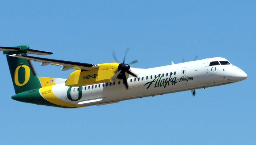 Alaska Airlines (Horizon Air) Bombardier DHC 8 Q400 [N407QX] high speed pass at HIO
