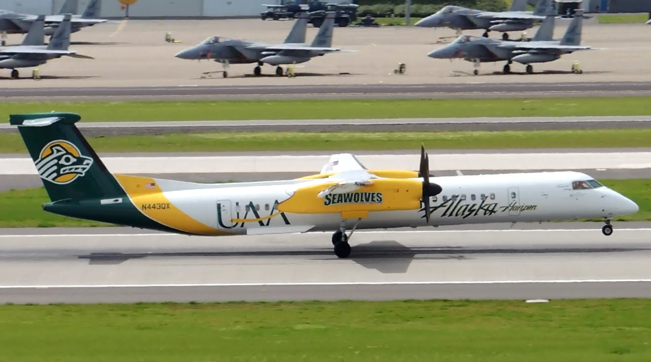 Alaska Airlines (Horizon Air) Bombardier DHC 8 Q400 UAA University of Alaska Anchorage Seawolves [N443QX] takeoff from PDX