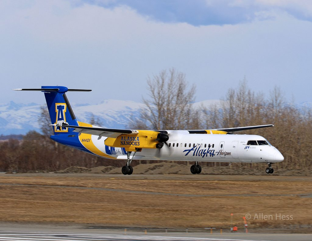 Alaska Airlines (Horizon Air) Bombardier DHC 8 Q400 UAF University of Alaska Fairbanks Nanooks [N441QX] @Allen Hess