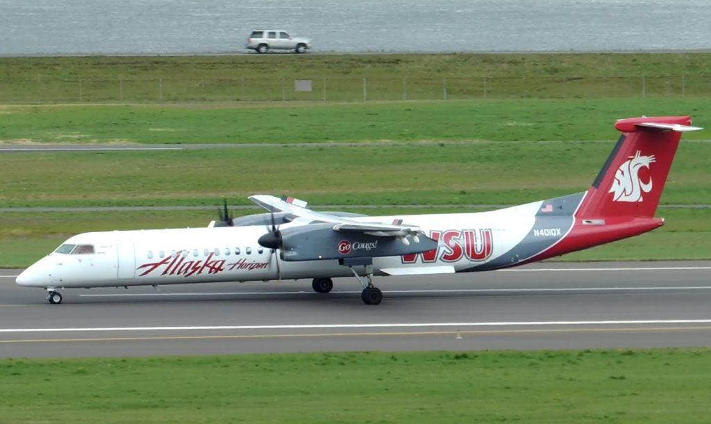 Alaska Airlines (Horizon Air) Bombardier DHC 8 Q400 WSU Livery [N401QX] landing in PDX