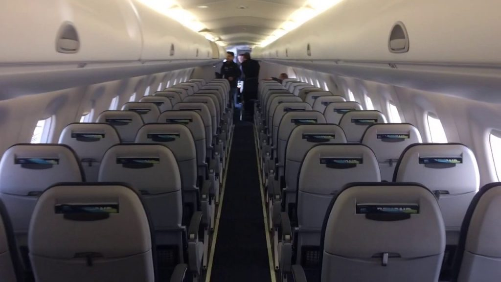 Alaska Airlines (Horizon Air) Embraer E175 Aircraft Cabin Interior View