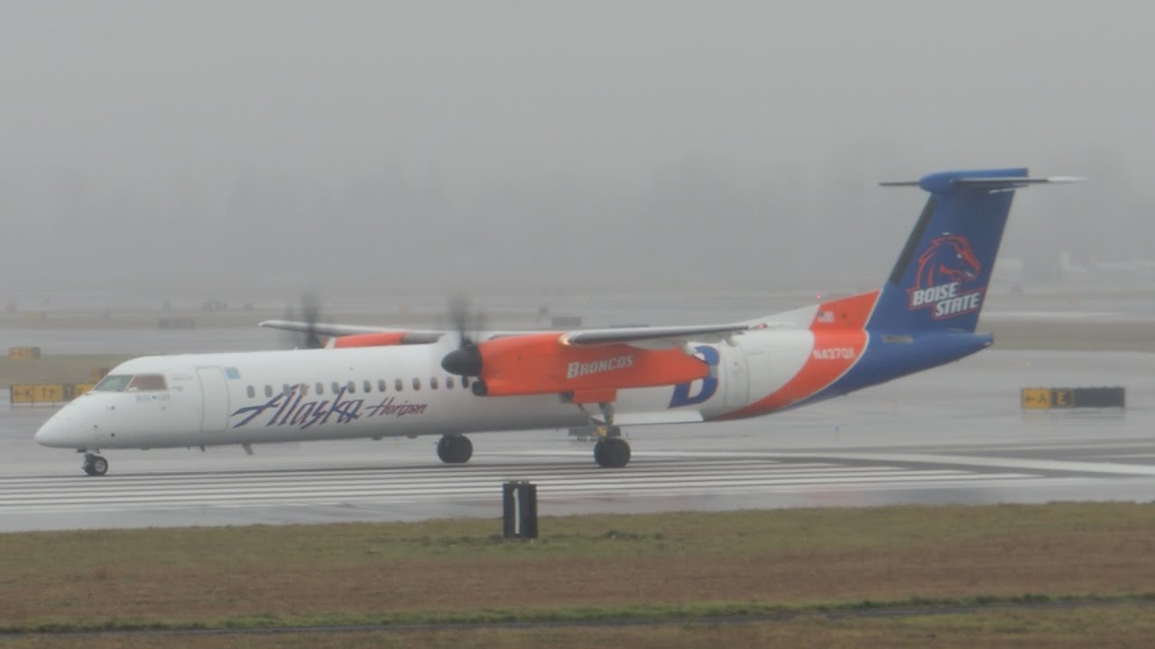 Alaska Airlines (Horizon) Bombardier DHC 8 Q400 Boise State University [N437QX] takeoff from PDX