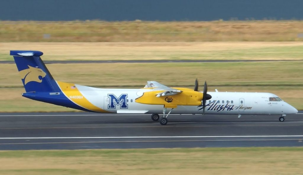 Alaska Airlines (Horizon) Bombardier DHC 8 Q400 Montana State University [N403QX] takeoff from PDX