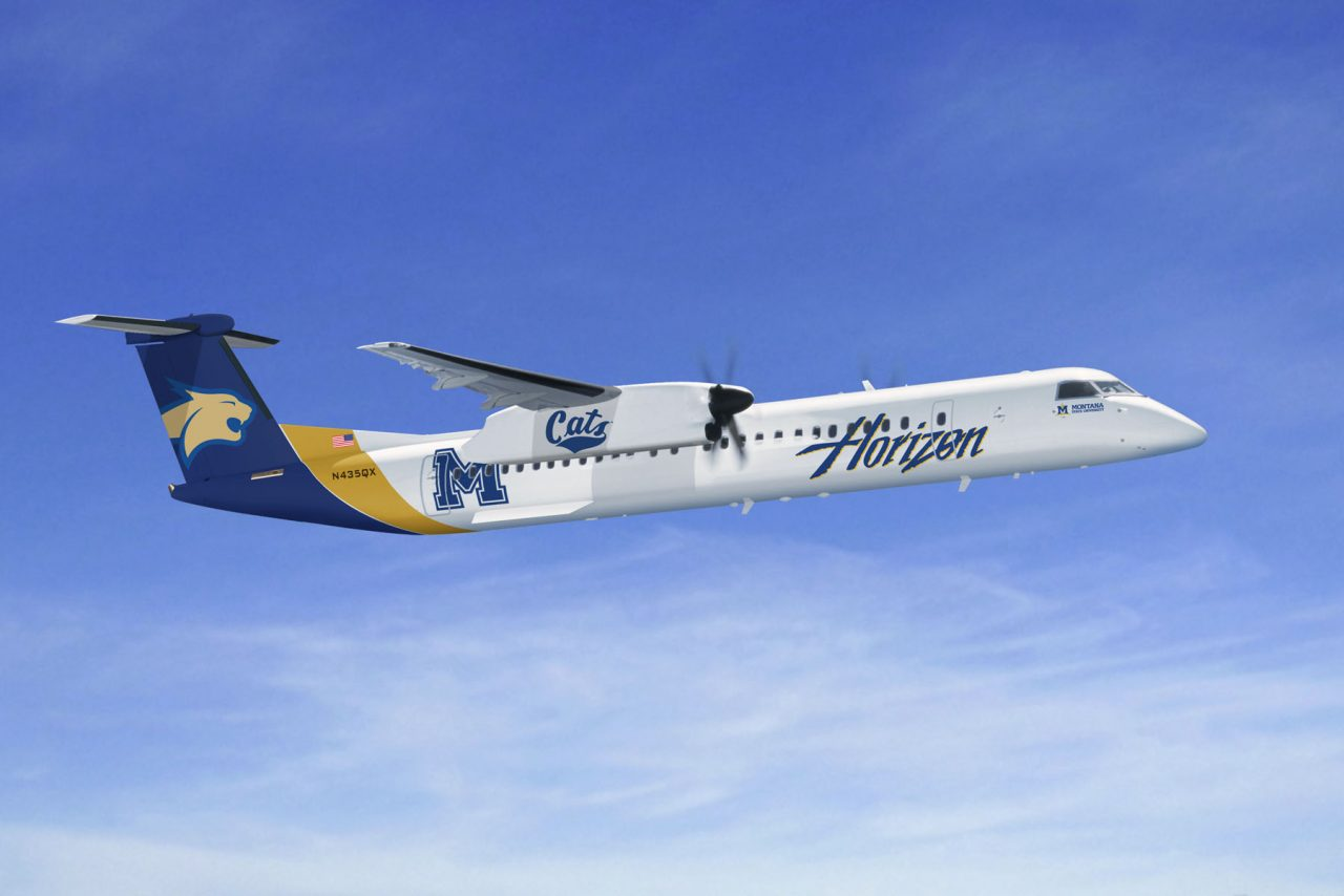 Alaska Airlines (Horizon) Bombardier Dash 8-Q400 Montana State University Bobcats Special Livery Plane