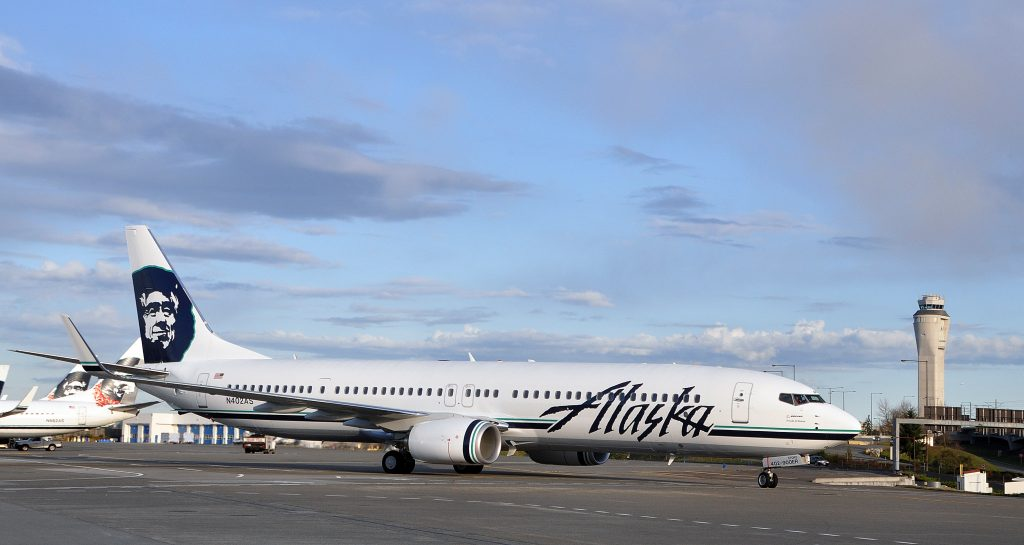 Alaska Airlines first Boeing 737-900ER (N402AS) is seen at Seattle-Tacoma