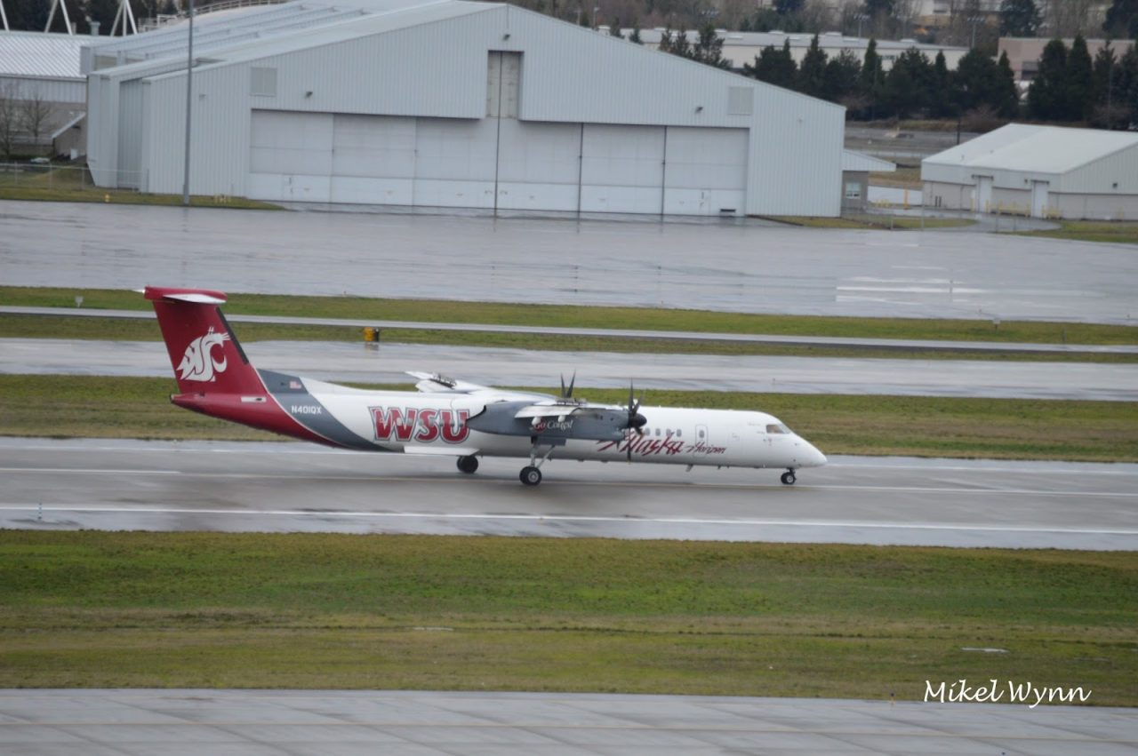 Alaska Horizon Air Bombardier DHC-8-402 Q400 (N401QX) in Washington State University Cougars livery arriving on 28L