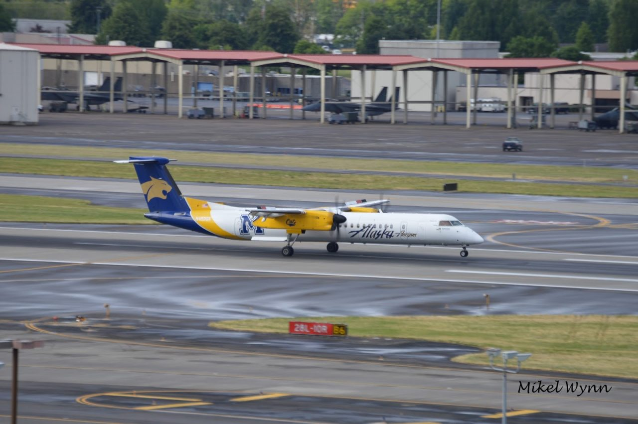 Alaska Horizon Air Bombardier DHC-8-402 Q400 (N403QX) in Montana State University Bobcats livery arriving on 28L as QXE2480 from Medford @Mikel Wynn