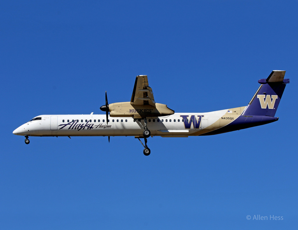 Alaska (Horizon) Propeller Plane Fleet Bombardier Q-400 Washington Huskies @Allen Hess