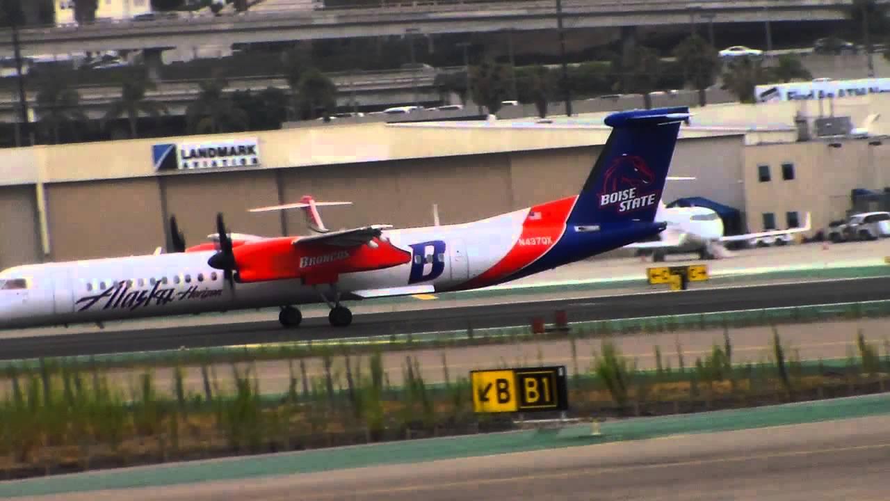 Alaska:Horizon Bombardier Dash-8-400 [N437QX] Boise State Broncos Takeoff to Yosemite