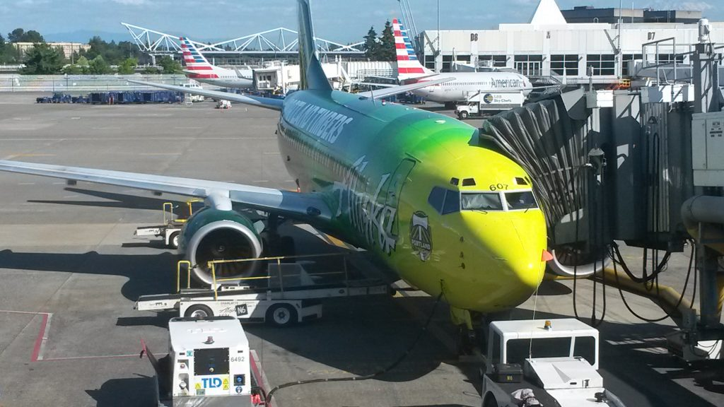 Alaska's N607AS, a 737-700 in a special livery Portland Timbers MLS Club