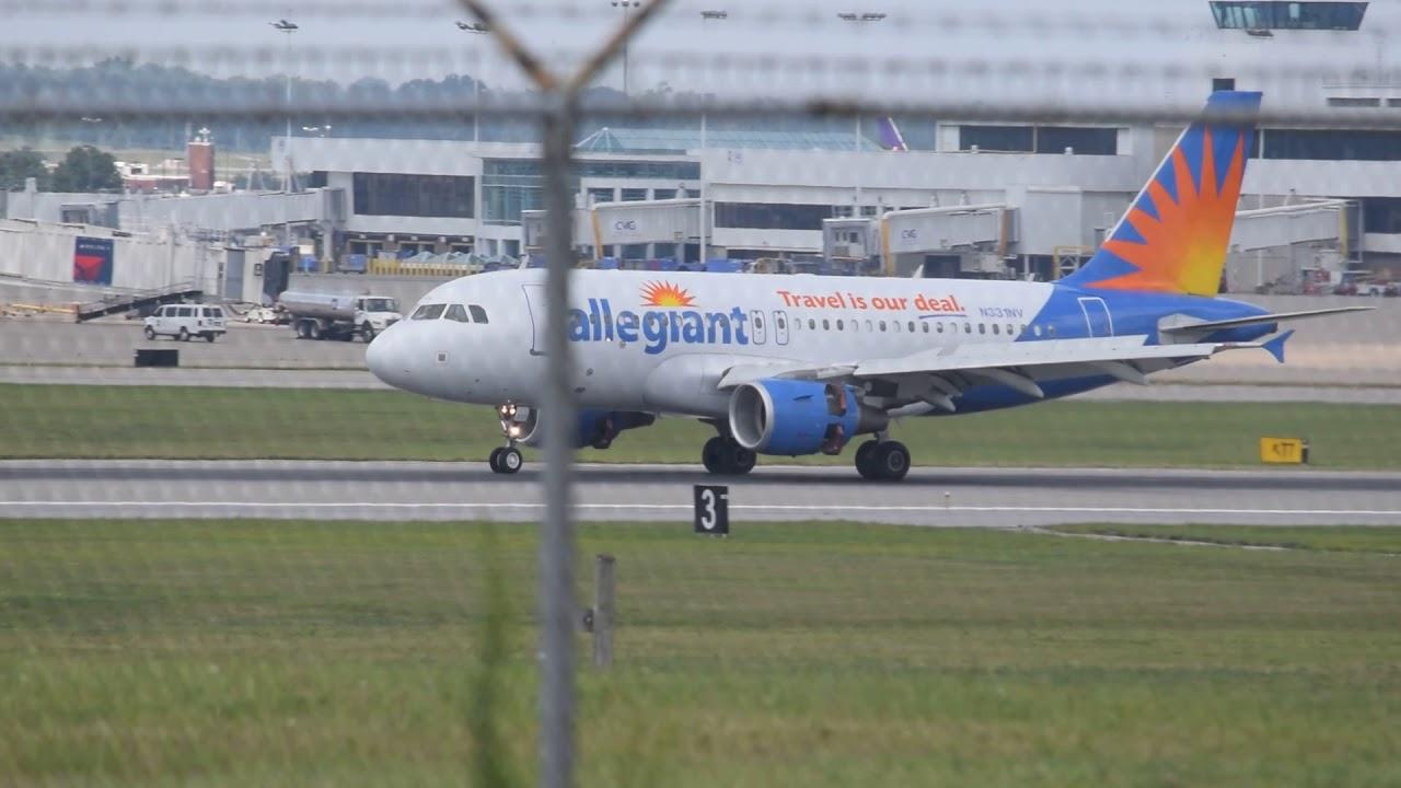 Allegiant Air Airbus A319-100 EWR-CVG landing