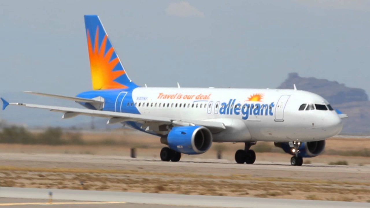 Allegiant Air Airbus A319-100 Taxi and Takeoff 12R KIWA Williams Gateway Airport