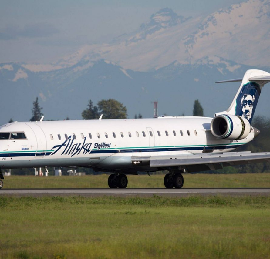 An Alaska Airlines Bombardier CRJ-700 lands at SeaTac International Airport in May 2017. Jeremy Dwyer-Lindgren