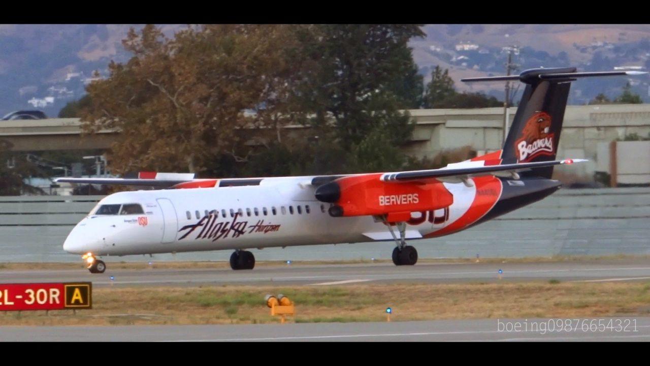 HD Alaska Horizon DHC-8-402Q OSU Beavers Taxi and Takeoff from San Jose International Airport