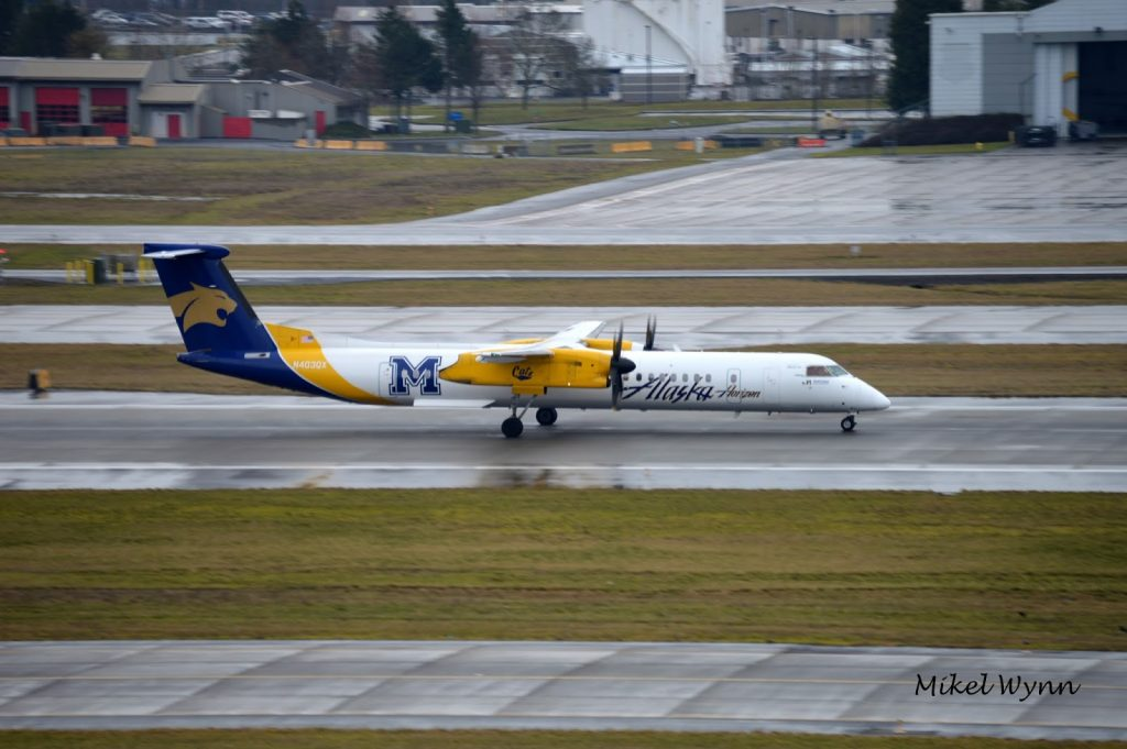 Horizon Air (d:b:a Alaska Airlines) Bombardier DHC-8-401 Dash 8 Q400 (N403QX) in the Montana State University Bobcats livery departing on 28L as QXE2014 @Mikel Wynn