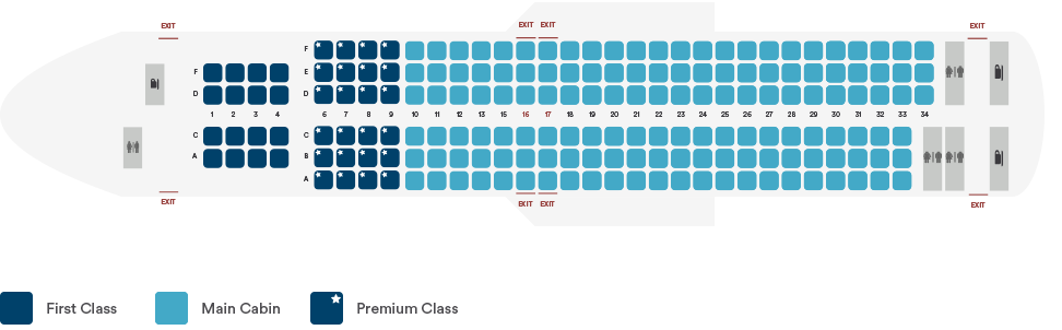 Interior seating layout of Alaska Airlines Boeing 737-900ER