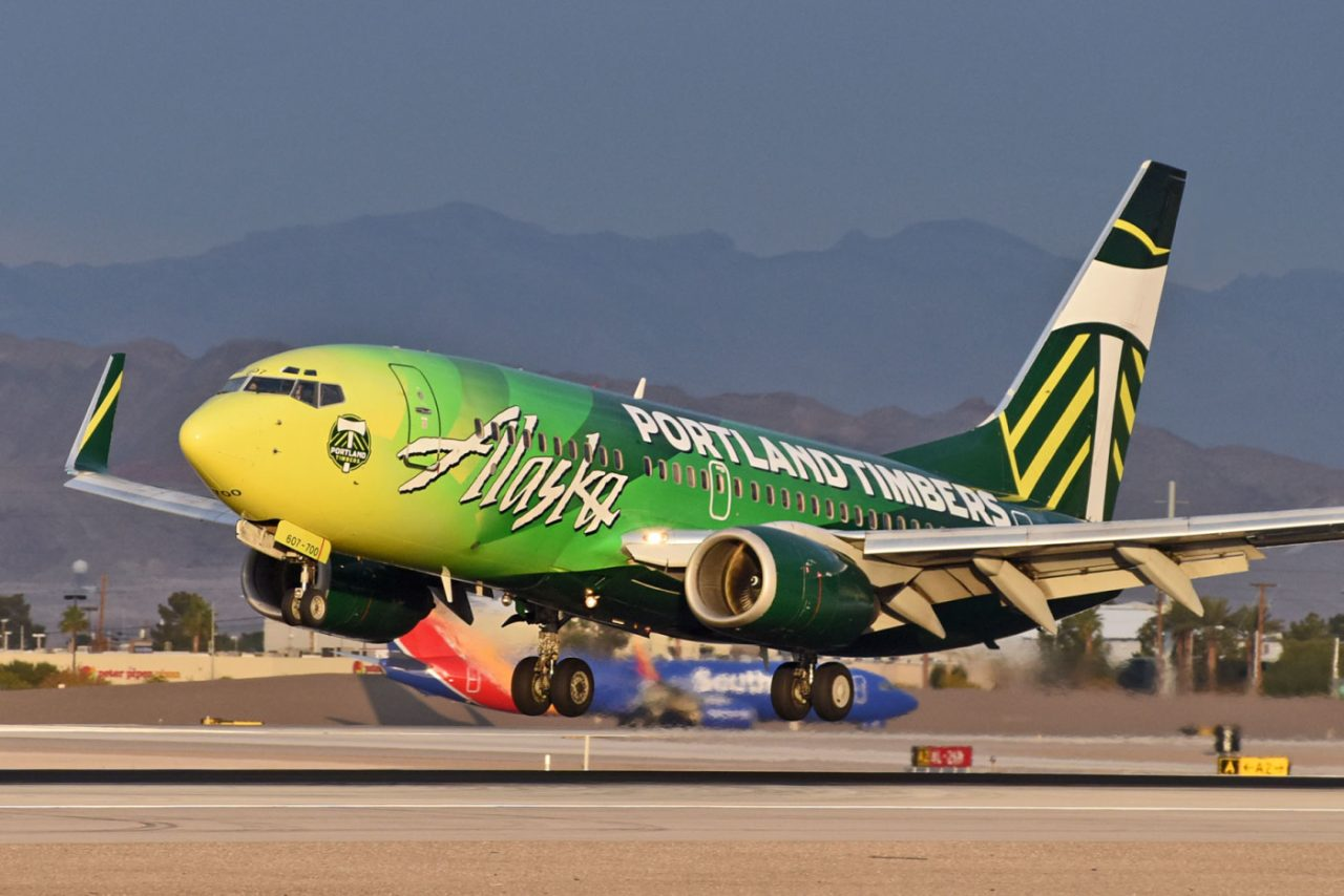 MLS Club Portland Timbers Special Livery Painting on Boeing 737-700 Alaska Airlines