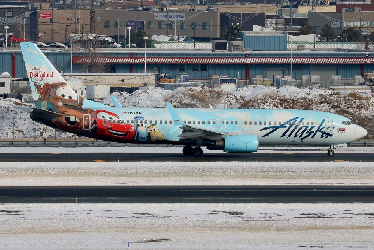 N570AS Disney Cards Painted Boeing 737-800 Alaska Airlines Aircraft
