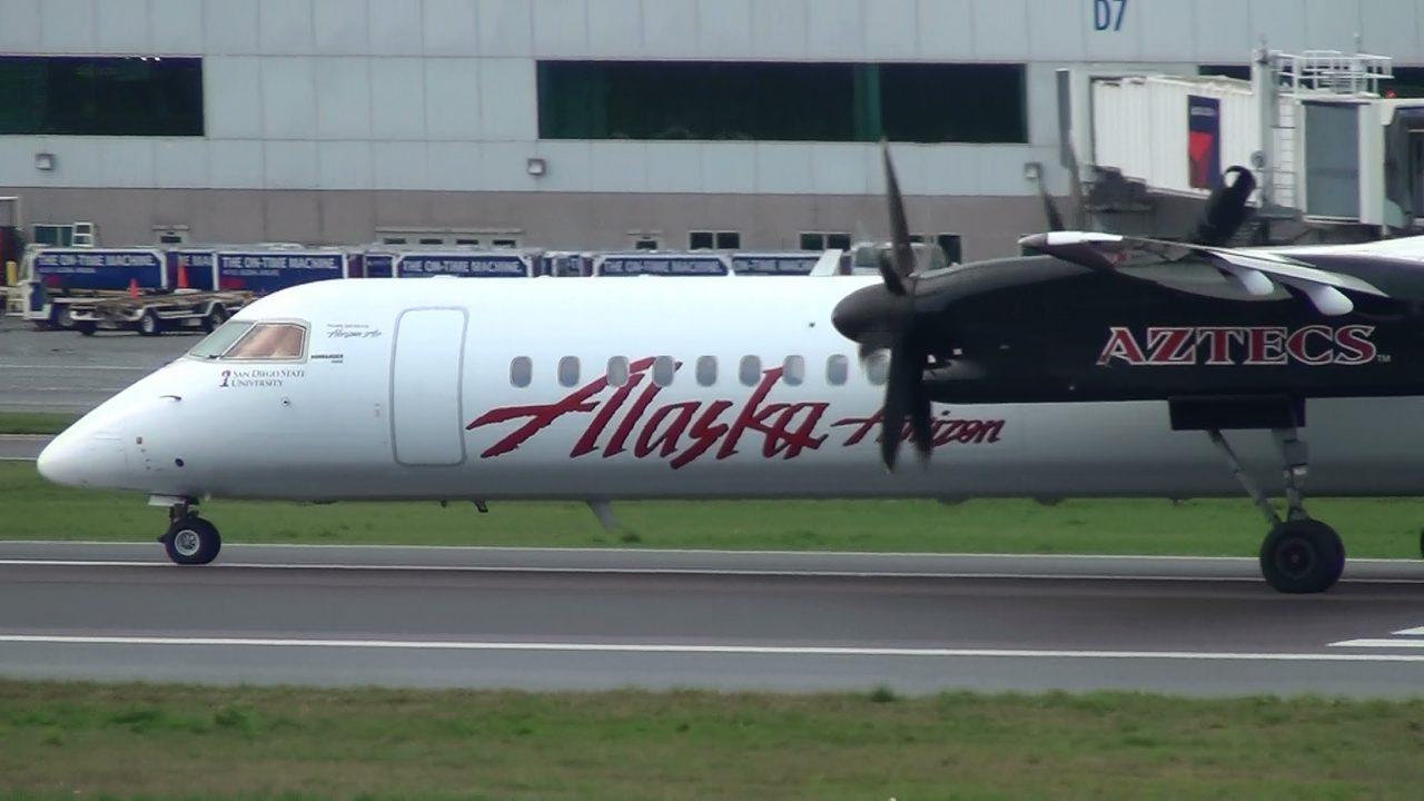 SDSU Aztecs Alaska Airlines Q400 [N414QX] Takeoff Portland Airport (PDX)