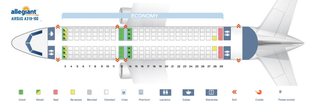 Seat Map Airbus A319 Allegiant Air Seating Chart Picture