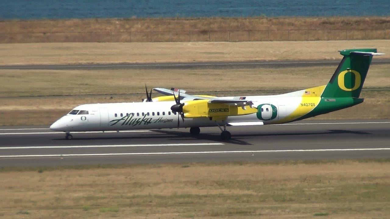 UO Ducks Alaska Airlines N407QX Q400 Landing Portland Airport (PDX)