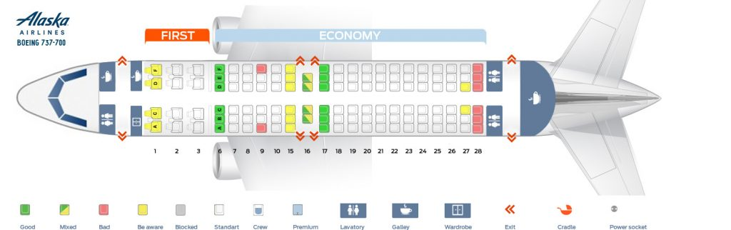 alaska airlines 737-700 seating chart