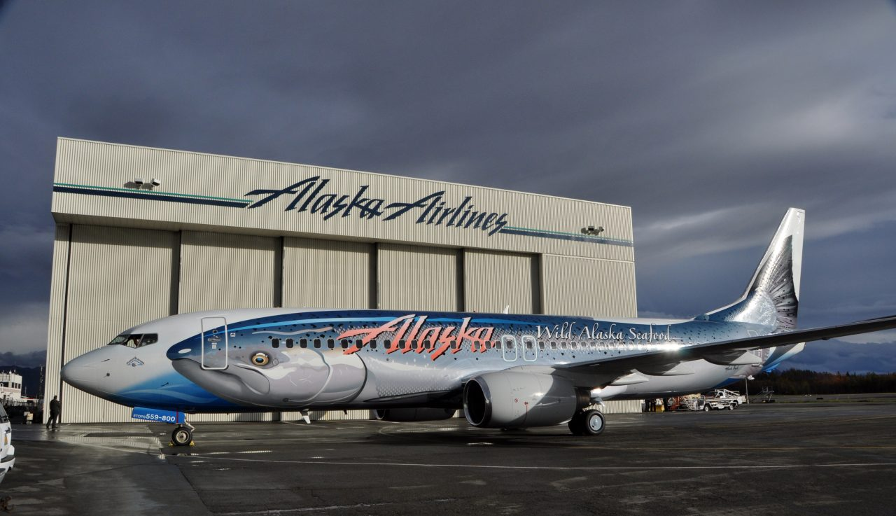 alaska airlines boeing 737-800 The new Salmon-Thirty-Salmon livery shown off in Anchroage