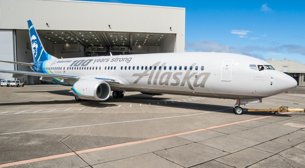 alaska airlines narrow body boeing 737-900er special livery painting on 100th celebration