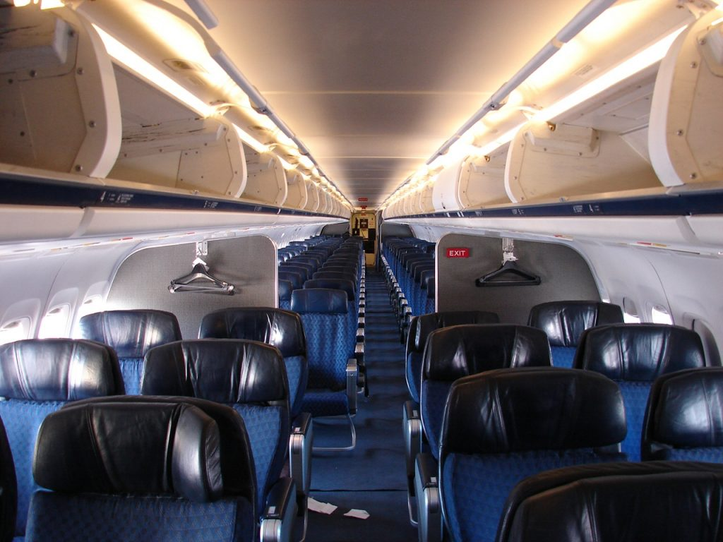 A glimpse of the interior of the McDonnell Douglas MD-83 Operated by American Airlines