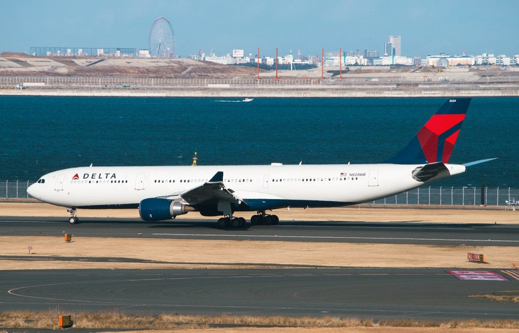 Airbus A330-300 of Delta Airlines, Registered N824NW landing at Tokyo International Airport