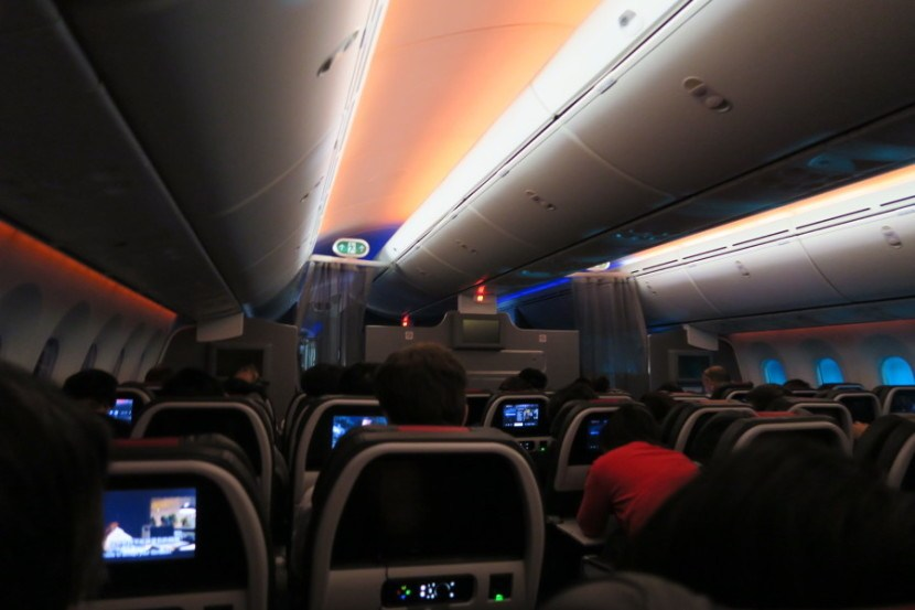 American Airlines 787-8 dreamliner main cabin extra artificial sunrise