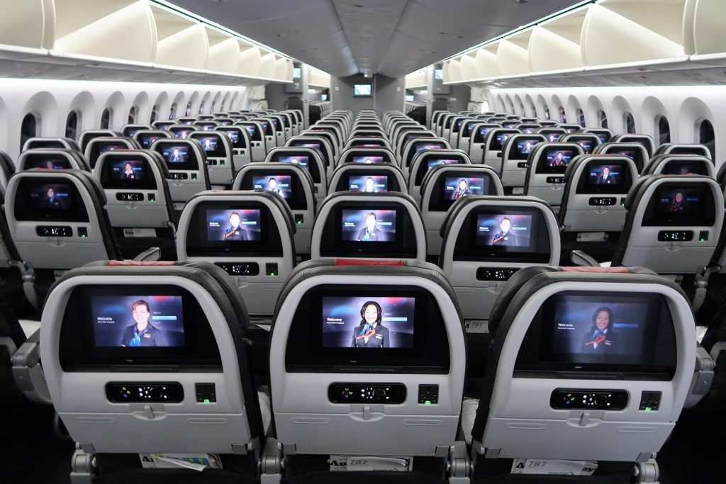 American Airlines 787-9 (789) Dreamliner Main Cabin seatbacks back section